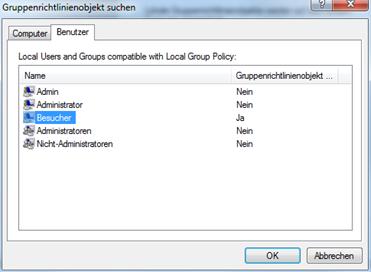 Windows vor Veränderungen schützen - Wähle den gewünschten Benutzer aus!