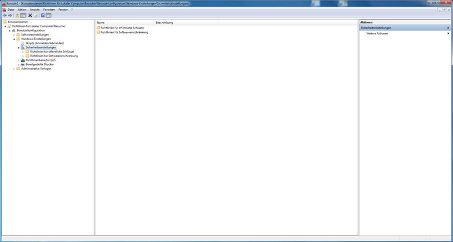 Windows vor Veränderungen schützen - So sieht das Ergebnis in der MMC dann aus! Fast wie in Variante 1.