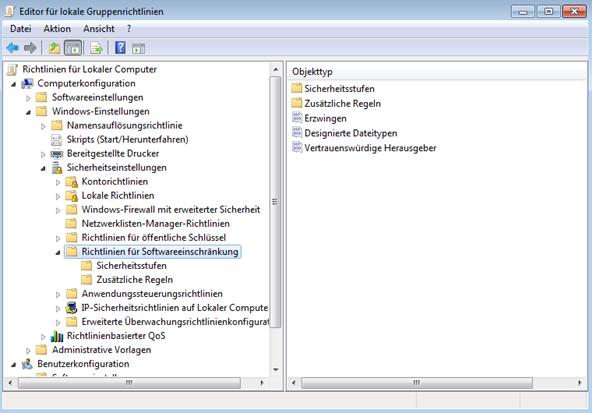 Windows vor Veränderungen schützen - Hier sehen wir den lokalen Gruppenrichtlinieneditor im Bereich Richtlinien für Softwareeinschränkung.
