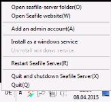 Dropbox Alternative Seafile Server einrichten - Add an Admin Accout auf dem Seafile Server über einen Rechtsklick im Tray Icon