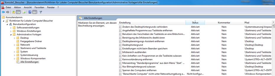 Windows vor Veränderungen schützen - Bereich Benutzerkonfiguration > Administrative Vorlagen > Alle Einstellungen