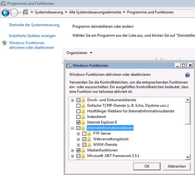 Dropbox Alternative Seafile Server einrichten - Seafile Server Windows Dienste im Bereich Internetinformationsdienste