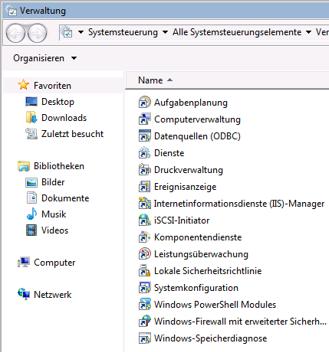 Dropbox Alternative Seafile Server einrichten - Internetinformationsdienste (IIS)-Manager aufrufen