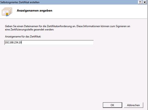 Dropbox Alternative Seafile Server einrichten - Als Anzeigename wählen wir die IP-Adresse des Servers aus