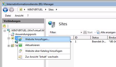 Dropbox Alternative Seafile Server einrichten - Im linken Frame nun bitte auf Website hinzufügen, wie im Screenhsot zu sehen
