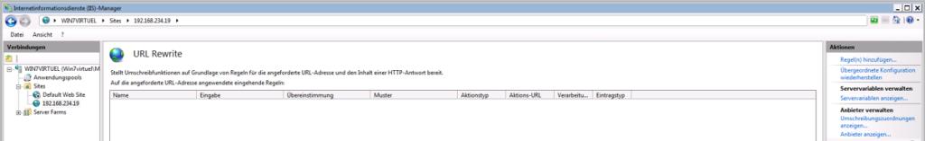 Dropbox Alternative Seafile Server einrichten - Doppelklick auf URL Rewrite und dann auf Regeln hinzufügen