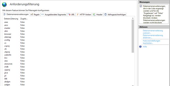 Dropbox Alternative Seafile Server einrichten - Featureeinstellungen bearbeiten im Fenster Anforderungsfilterung