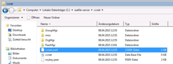 Dropbox Alternative Seafile Server einrichten - Hier sehen wir die Dateien ccnet und conf.conf