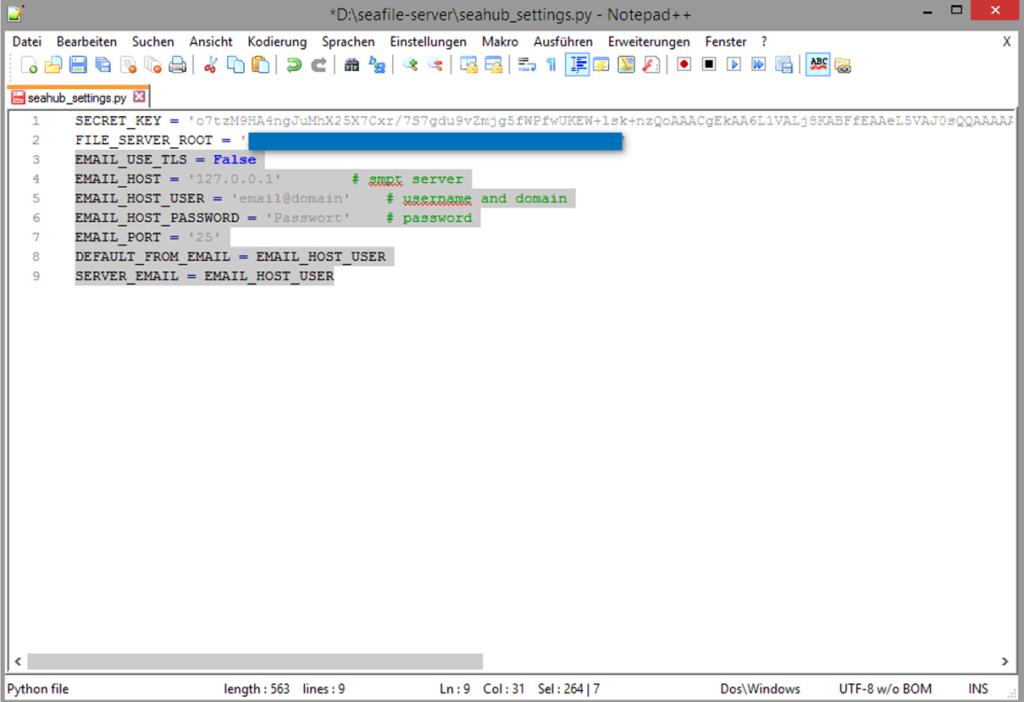 Dropbox Alternative Seafile Server einrichten - Weitere inhalte in der seahub_settings.py