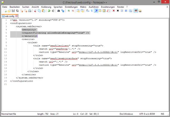 Dropbox Alternative Seafile Server einrichten - Inhalt der Seafile Server web.config-Datei