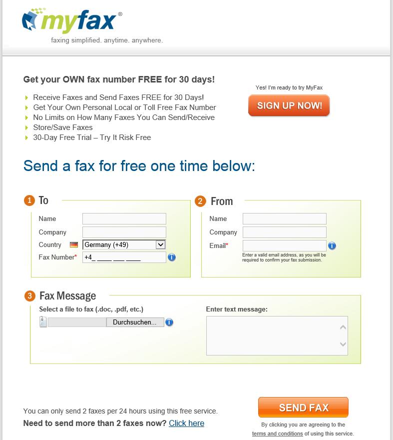 Fax online kostenlos via myfax. Der Dienst lässt einen über ein schlichtes, gut erkennbares Fromular zweimal täglich Faxe kostenlos versenden