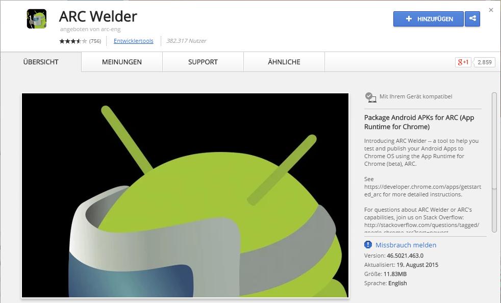 ARC Welder für Google Chrome. Mit Hilfe dieser Runtime können Android Apps im Google Chrome Browser abgespielt werden. Einfach im Chrome Web Store herunterladen.