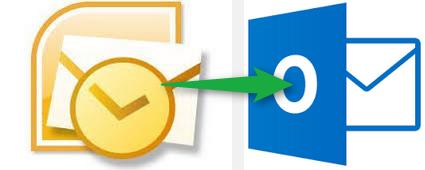 Hier sehen wir links das Outlook 2010-Logo und rechts das neue Outlook 2013-Logo. Flatdesign und Farbwechsel.