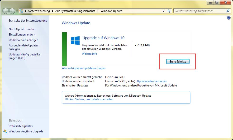 Windows 10 in Bearbeitung - Hier dann auf Erste Schritte klicken