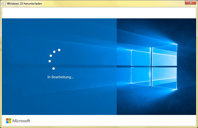 Windows 10 in Bearbeitung Upgrade hängt. So sieht das Fenster dabei aus... der Punktekreis dreht sich und es geschieht nichts mehr..