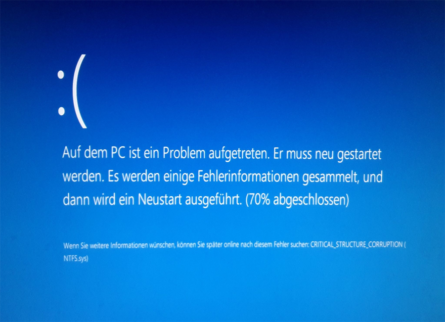 Windows Bluescreen critical_structure_corruption Windows 10 Upgrade