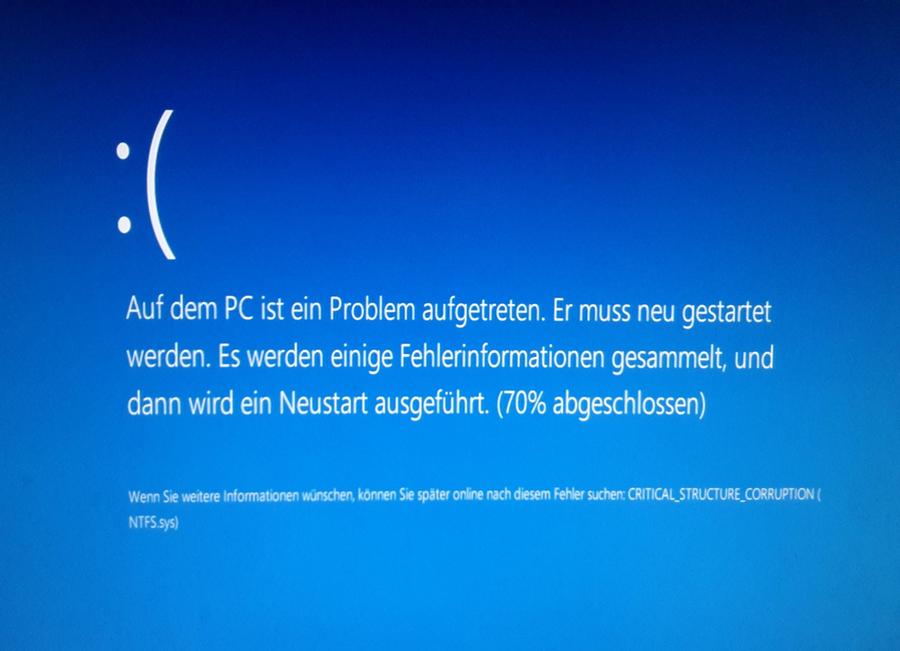 Windows Bluescreen critical_structure_corruption Windows 10 Upgrade