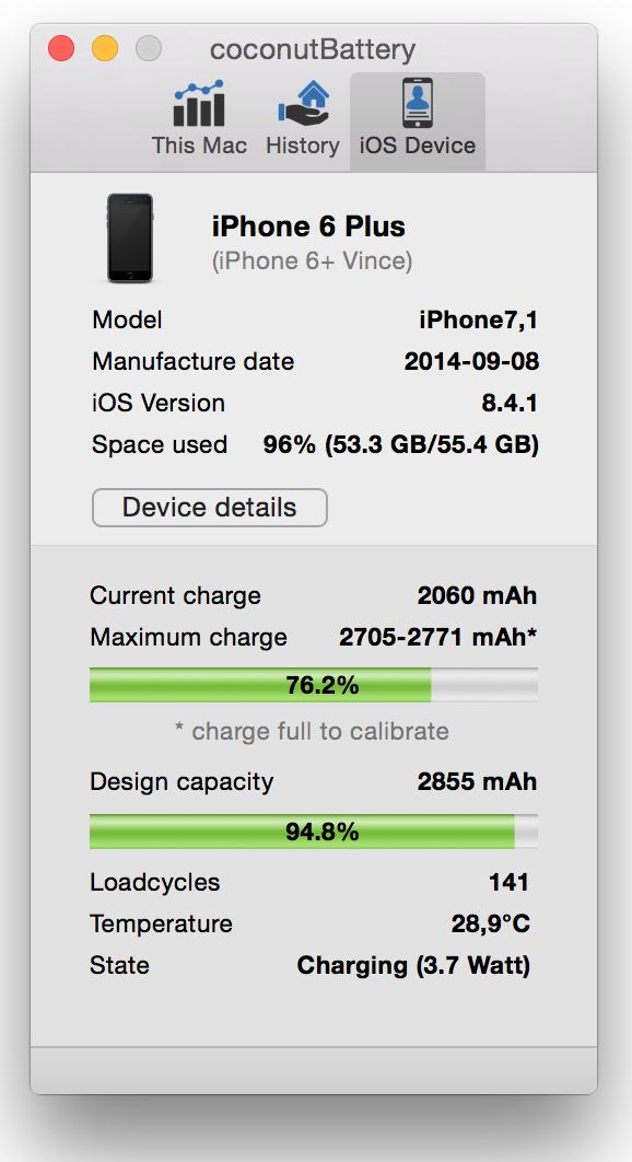 iPhone Akku testen kostenlos mit coconutBattery für Mac OS X!