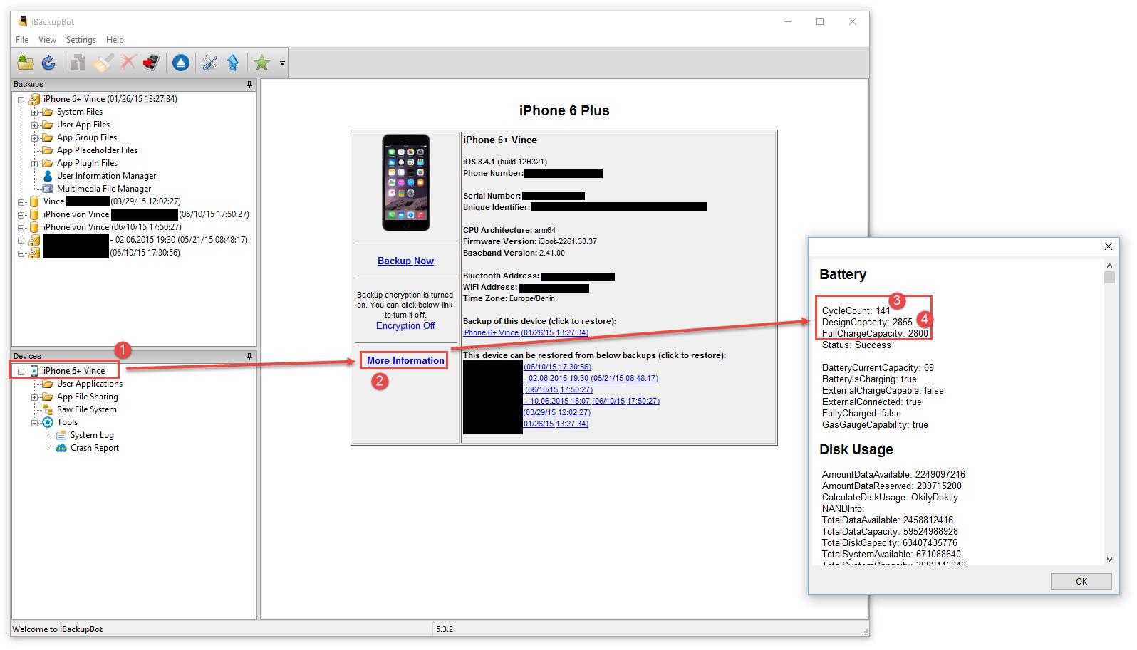 iPhone Akku testen mit der iBackupBot Trial-Version kostenlos.