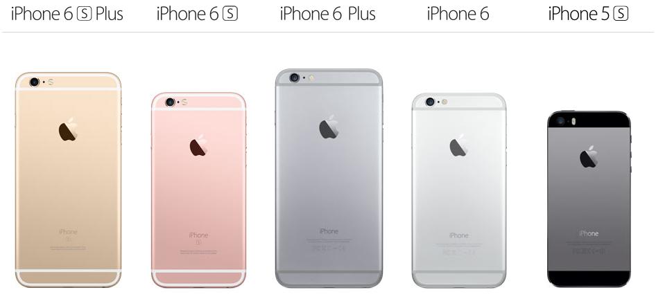 Сравнительный ряд моделей iPhone от iPhone 5S до актуального  iPhone 6S! Выглядит здорово :)