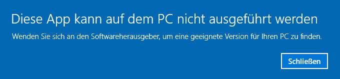 Diese App kann auf dem PC nicht ausgeführt werden