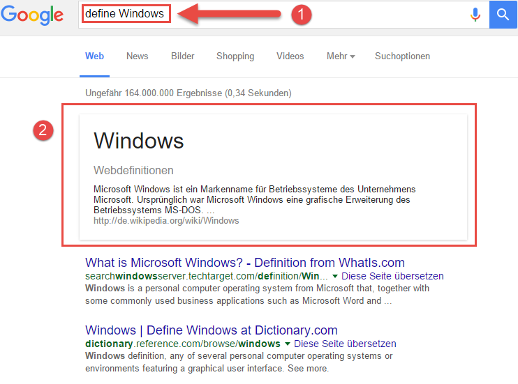 Google Suchtipps Definitions Suche