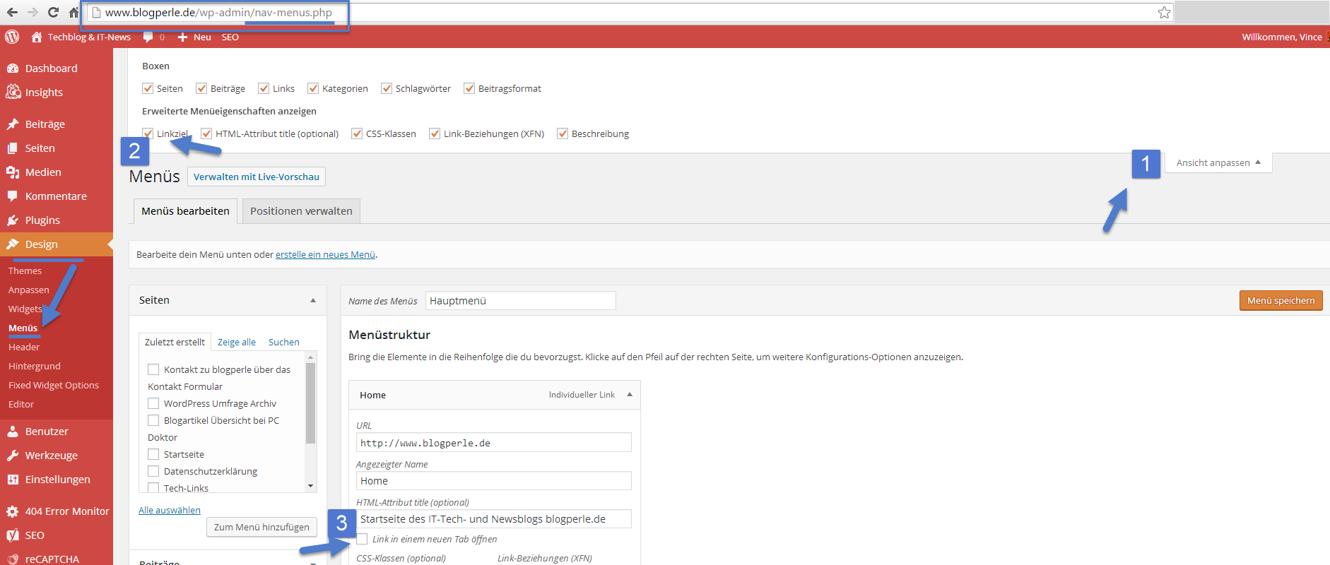 Wordpress Menü Link target blank einbauen