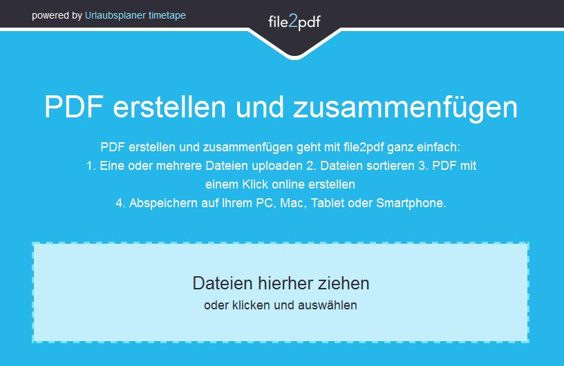 PDF zuammenfügen kostenlos mit Simon Walthers Tool file2pdf!