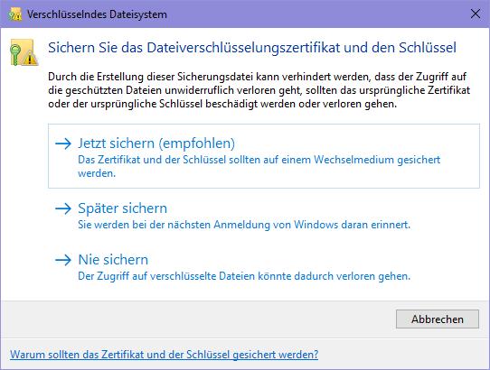 Verschlüsselndes Dateisystem Windows 10