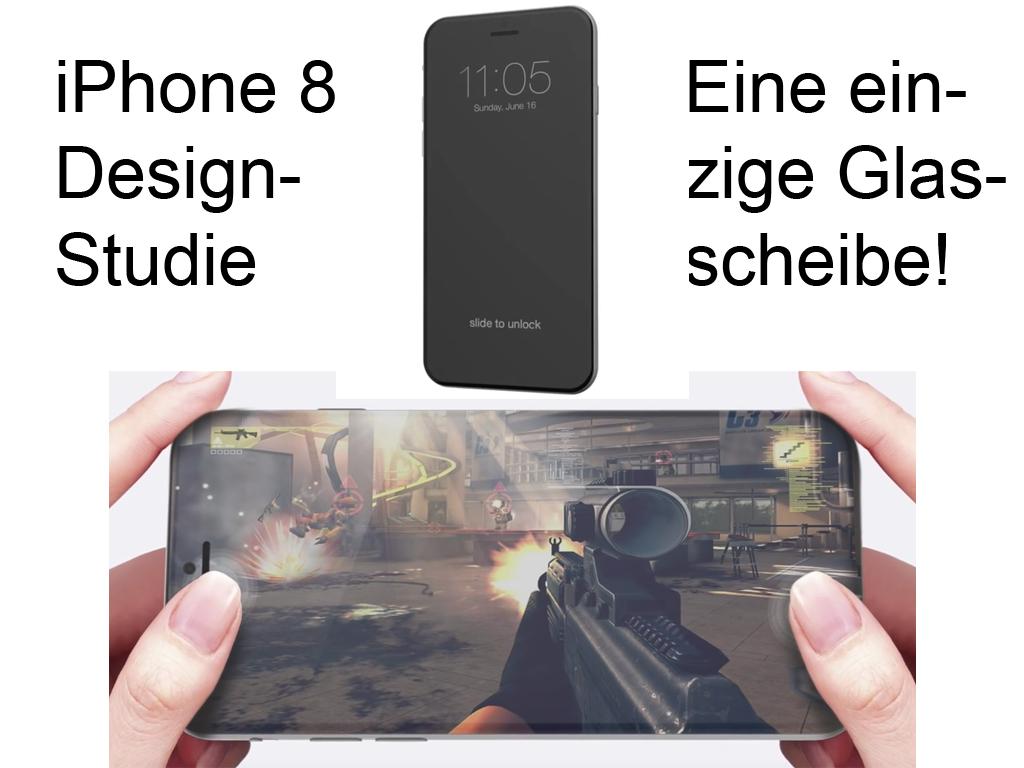 Hier sehen wir eine Design-Studie zum iPhone 8, wie das Display als eine einzige Glasscheibe aussehen könnte. Von ConceptsiPhone.
