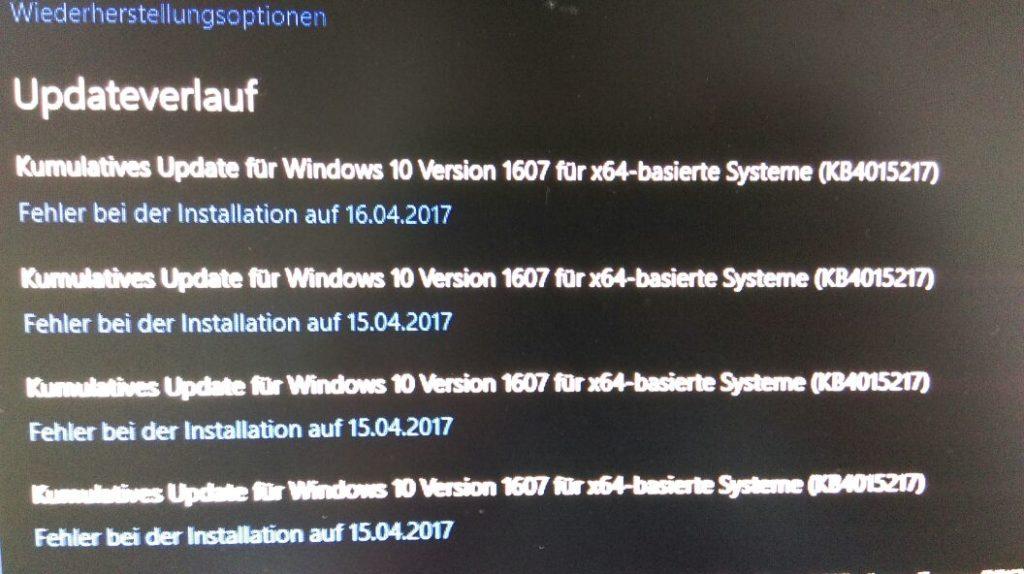 Installationsprobleme bei KB4015217- Build1607 - Fehler mit Wiederherstellungsoptionen unter Windows 10!