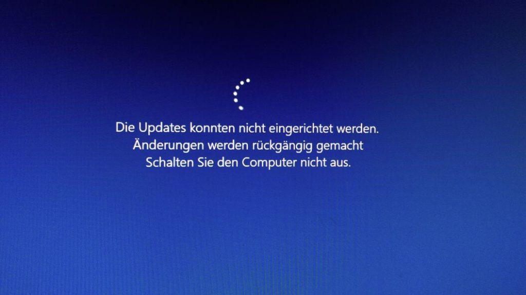 Fehler bei der Installation von KB4015217 (Windows 10 Release 1607) - Die Updates konnten nicht eingerichtet werden. Änderungen werden rückgängig gemacht. Schalten Sie den Computer nicht aus.