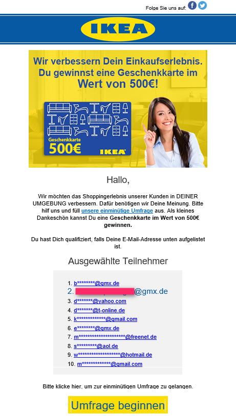 IKEA Spam E-Mail - Bitte einfach vernichten und den Absender blockieren!