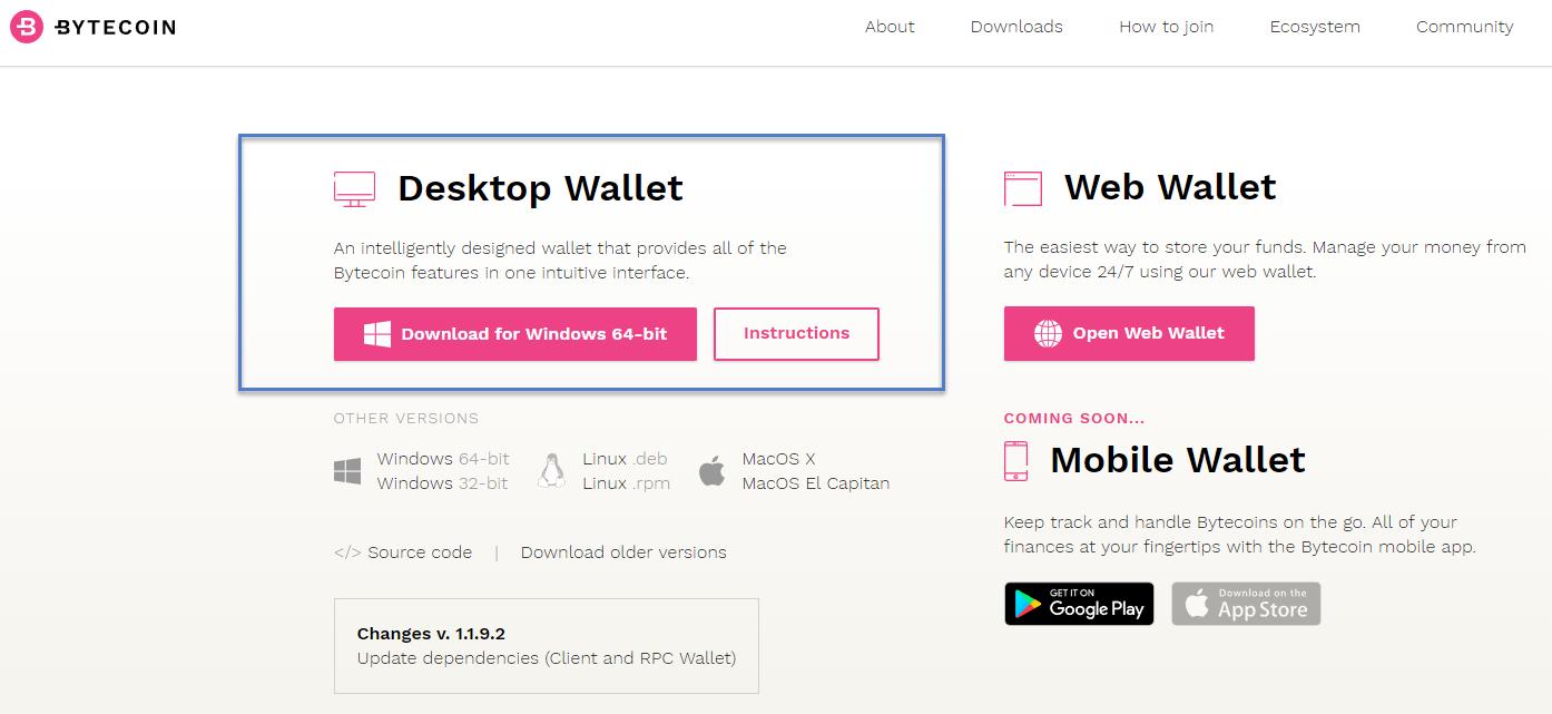 Download der offiziellen Bytecoin Wallet für Windows, Linux und Mac