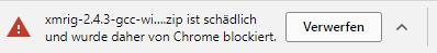 Der Download des Bytecoin CPU-Miners wird von Google Chrome blockiert. Nutze den Firefox stattdessen.