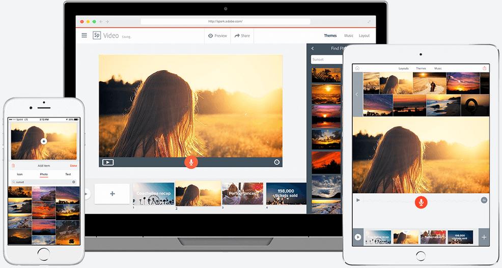Das kostenlose Adobe Spark läuft unter macOS und Windows im Browser und iOS/Android über eine App